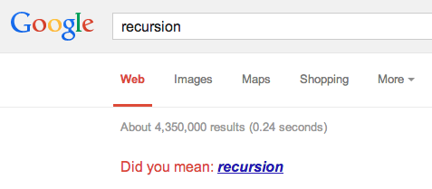 Google search result for 'Recursion'